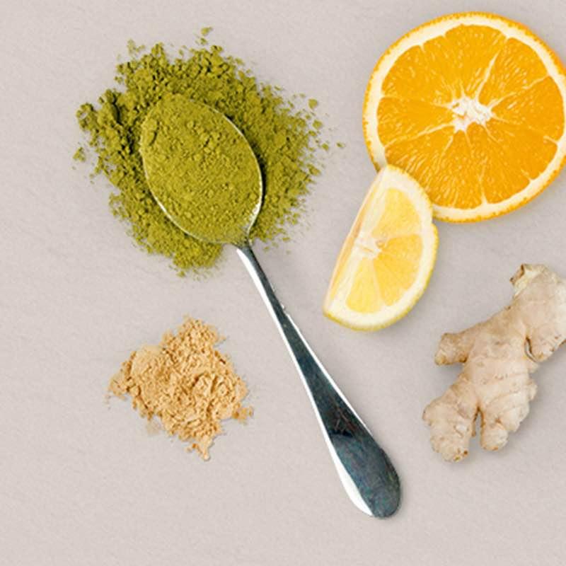 Mistura de Chá Verde Matcha com Gengibre e Citrinos