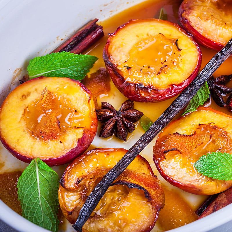 Nectarinas e Alperces com Canela