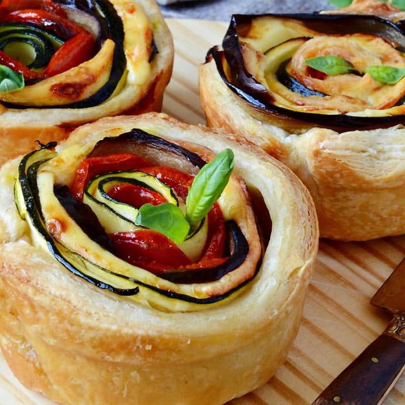 Tarte-espiral de Beringela, Tomate e Pancetta