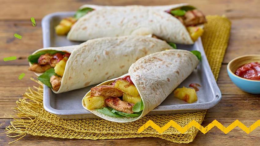 Karibische Poulet Wraps mit Ananas