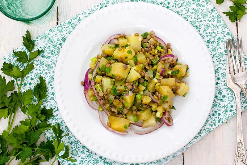 Linsen-Kartoffel-Salat mit Curry