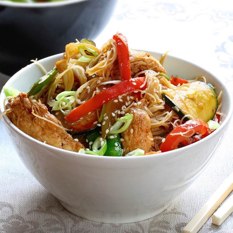Filet de porc façon chinoise aux nouilles