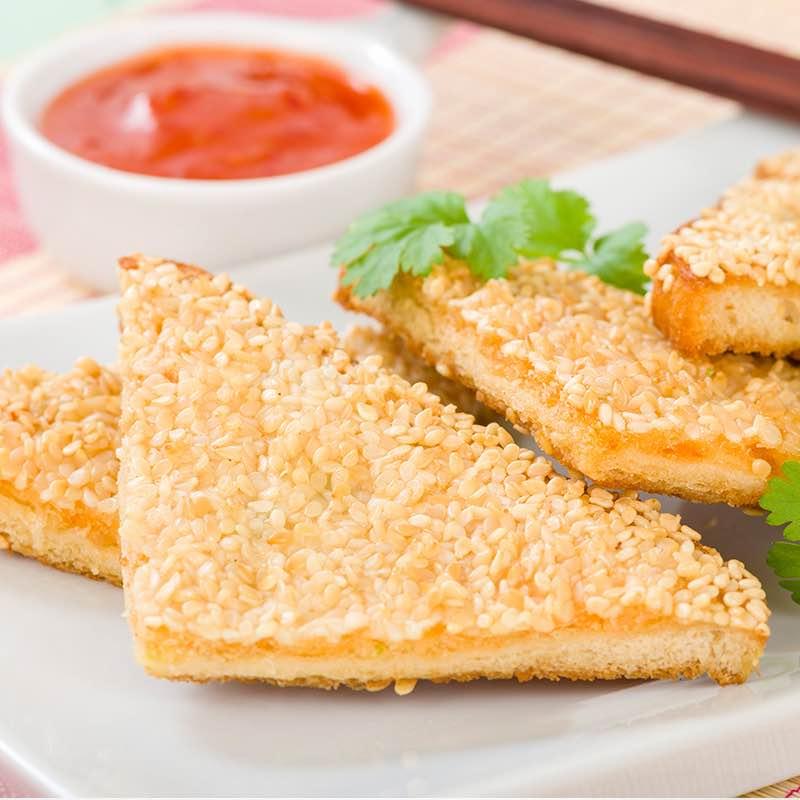 Toast mit Crevetten und Sesam