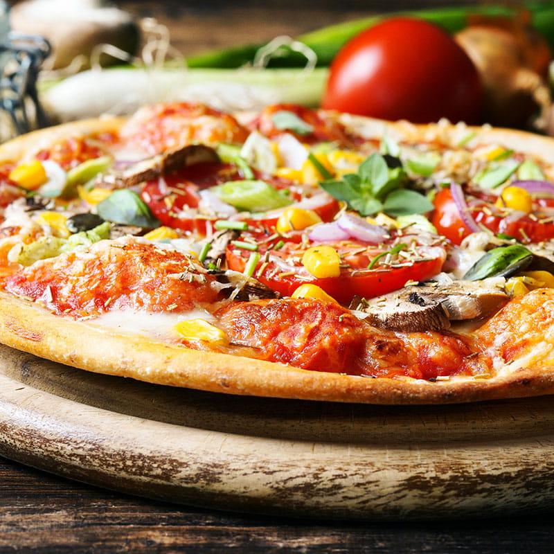 Tranches de pizza légumes all'arrabbiata