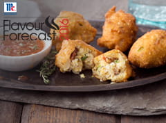 Corn Fritters with Bacon Thyme Dipping Sauce
