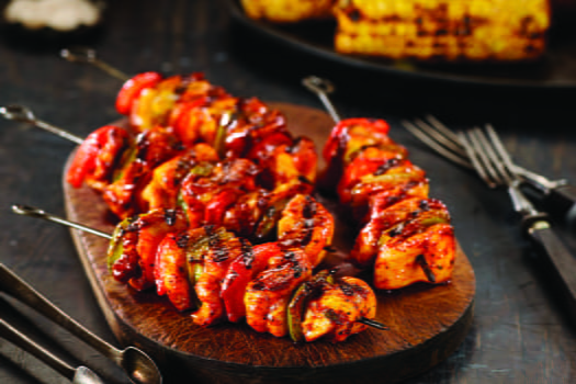 Chipotle and Roasted Garlic Chicken Skewers