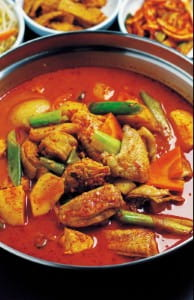 The recipe uses chicken and spices