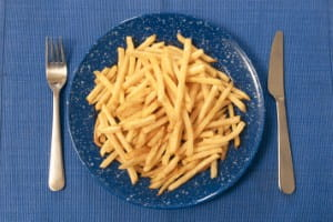 Roasted chips can be added to a salad for a lighter meal
