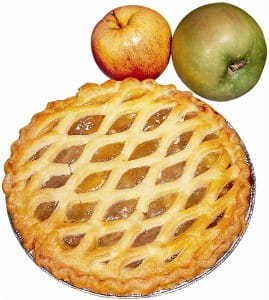 Apple pie can be seasoned with cinnamon or nutmeg according to cookbook author
