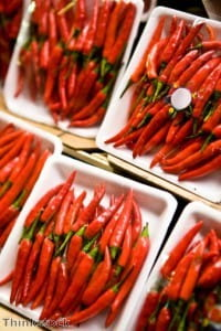 Chillies offer a hot garnish for a fried rice dish