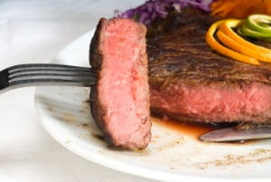 Steak can be served in strips with lemon sauce