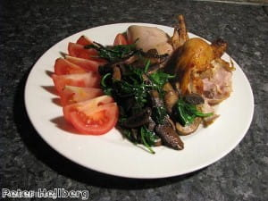 Bake chicken with herbs
