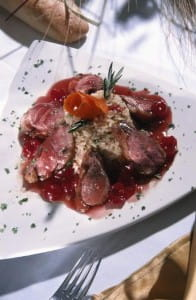 Duck can be roasted with herbs