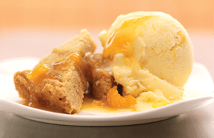 Charred Orange Sorbet with Warm Rum Sauce and Spiced Cookie Bars