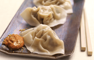 Chilled Chinese Dumplings with Creamy Dukkah Sauce