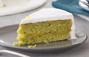 Matcha Green Tea Cake with Lemon Meringue Frosting