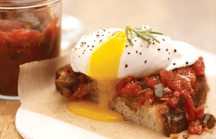 Rosemary Smoked Tomato Jam and Poached Egg