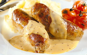 Sausages with Mustard Mash and Cumberland Sauce Gravy