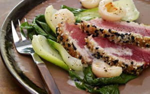 Seared Sesame Tuna with Lemon Grass and Lychee Coulis