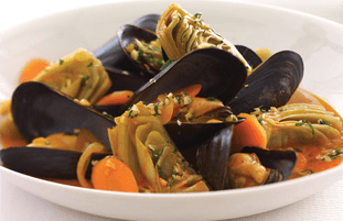Steamed Mussels  and Artichokes with Hazelnut Gremolata