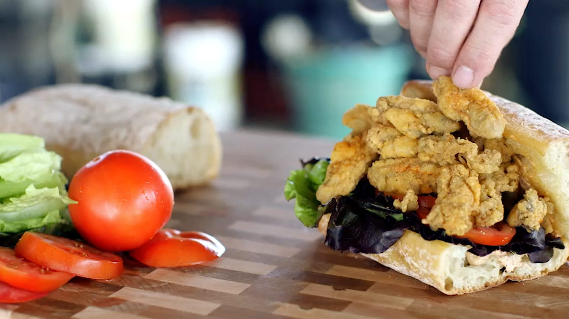 OLD BAY Oyster Po Boy with OLD BAY Tiger Sauce