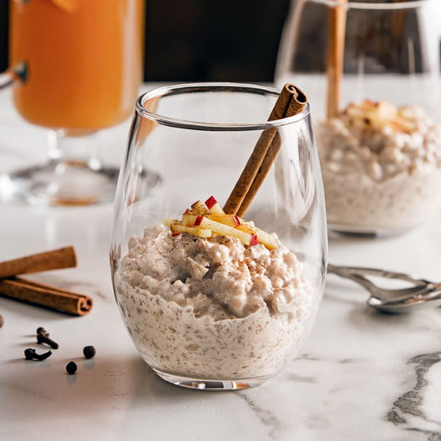 Farro Rice Pudding with Mulled Apple Cider