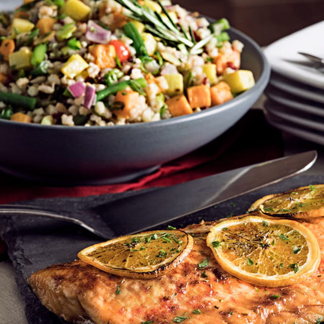 Orange Roasted Salmon Side with Barley Pilaf