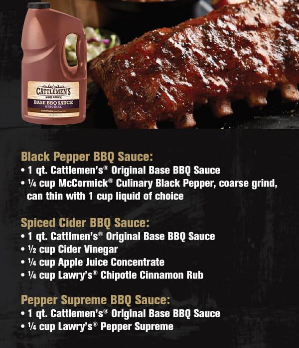 A rich tomato base with better coverage and cling, Cattlemen's® Kansas City Classic® BBQ Sauce is just the right amounts of sweet, spice and tang.