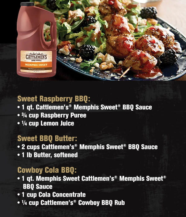 Sweetened with molasses and pineapple juice and finished with spices (no starches or breakage here), Cattlemen's® Memphis Sweet® BBQ Sauce is a favorite in its own right.