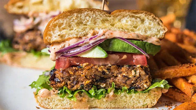 Black Bean Veggie Burger With Smoky Hummus Spread