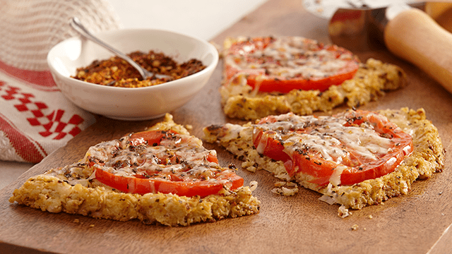 Cauliflower Almond Crusted Tomato Pizza