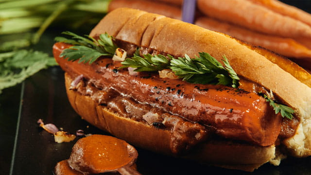 Carrot Hot Dog with Charred Tomato Ketchup