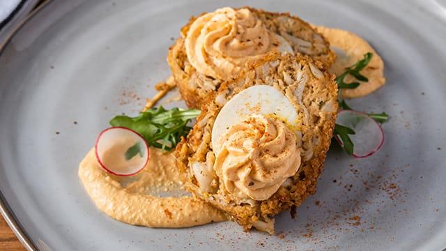 "OLD BAY® Hot Sauce Crabby ""Deviled"" Scotch Egg"