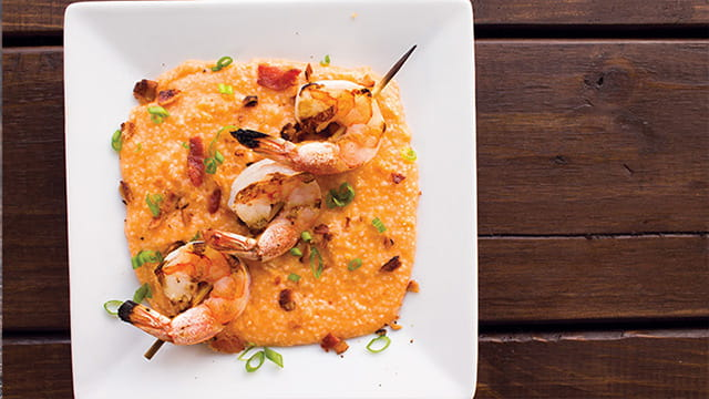 Spicy Shrimp and Crabby Grits with Smoky Tomato Broth
