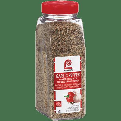Lawry's®Garlic Pepper Seasoning, Coarse Grind with Red Bell & Black Pepper