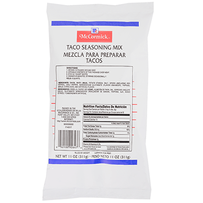 Taco Seasoning Mix Pouch 11 Oz Mccormick For Chefs