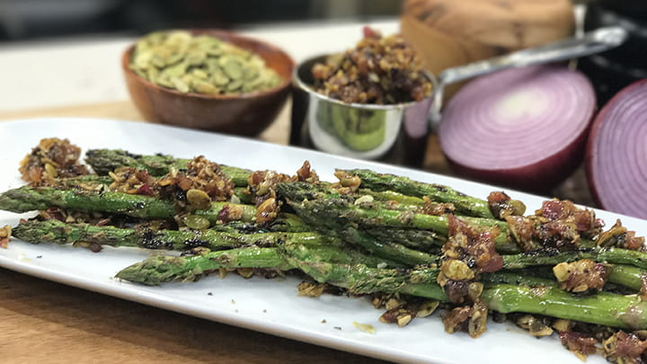 Barbecue Onion and Pepita Crusted Asparagus