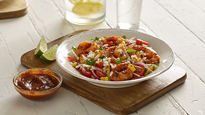 Barbecue Shrimp and Corn Salad Bowl