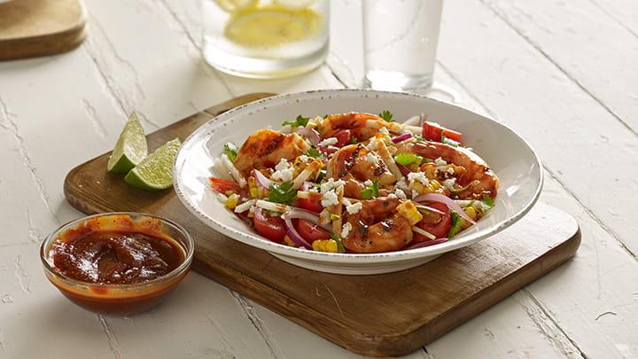 Barbecue Shrimp and Corn Salad Bowl