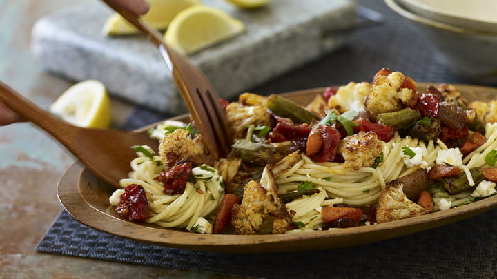 Berbere Spiced Roasted Vegetables & Pasta