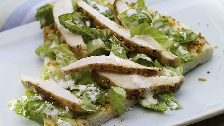 Fiery Chicken Caesar Salad Pizza
