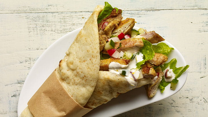 Chicken Shawarma Wrap with Cucumber Radish Relish