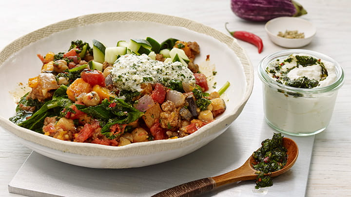 Chickpea and Ground Lamb Breakfast Hash with Skhug Sauce