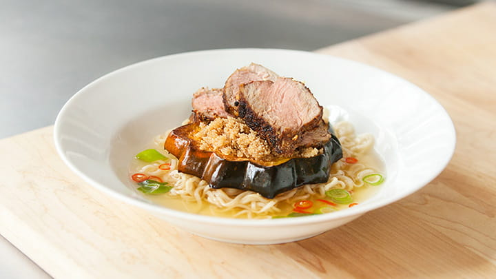 Cinnamon Squash and Amaranth Thai Pork Ramen