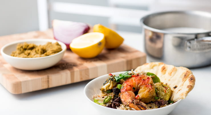 Curried Shrimp and Halibut