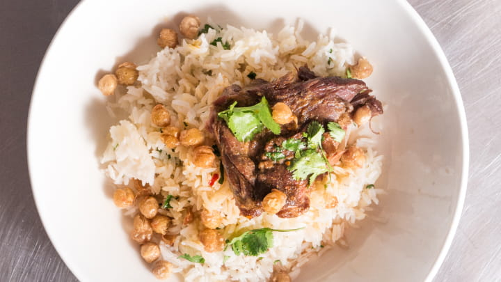 Curry Goat with Rice and Fried Chickpeas