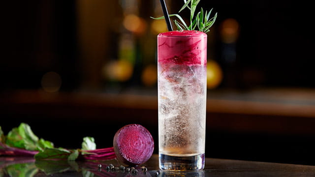 Beet and Black Pepper Espuma Topped Gin & Tonic