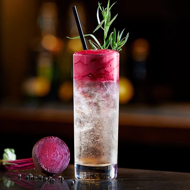 Beet and Black Pepper Espuma Topped Gin and Tonic