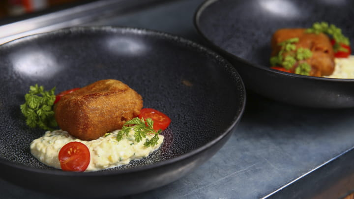 Fried Black Cod with Miso Tartare