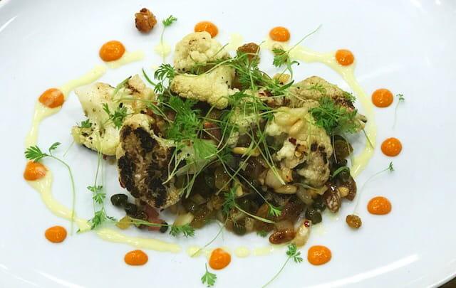 Grilled Cauliflower Sultana and Caper Caponata